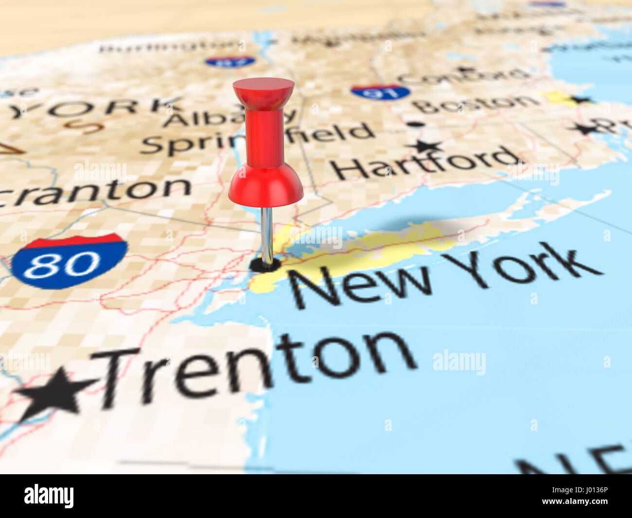 Pushpin On New York Map Background D Illustration Stock Photo - New york map in 3d