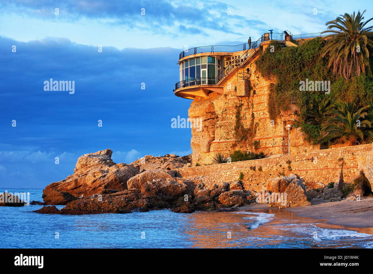 spain nerja town on costa del sol balcon de europa at sunrise stock photo royalty free image. Black Bedroom Furniture Sets. Home Design Ideas
