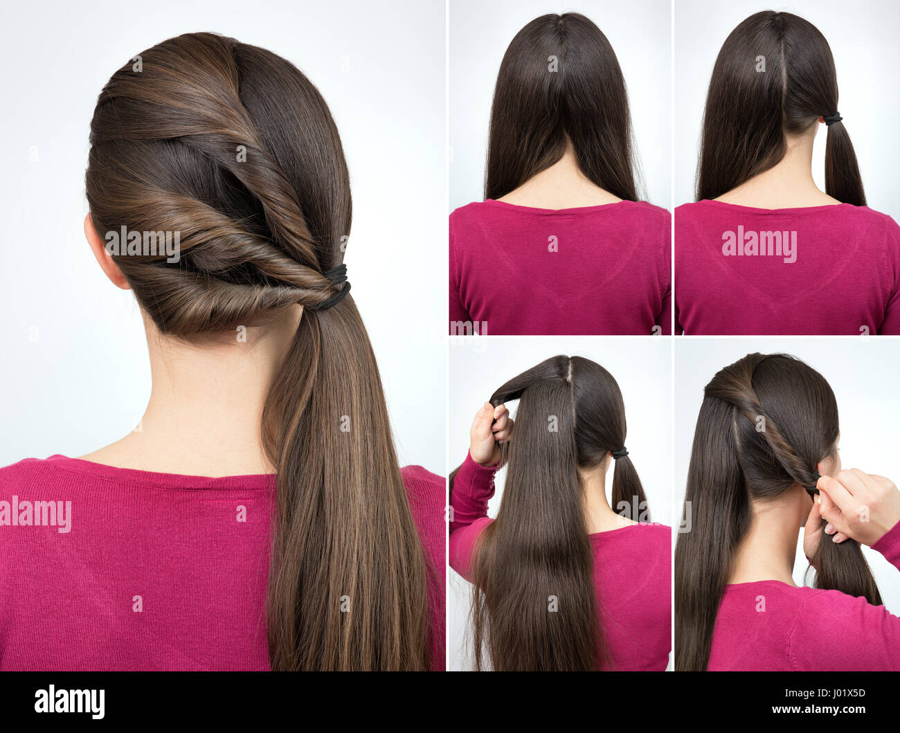 simple hairstyle pony tail with twisted hair tutorial step