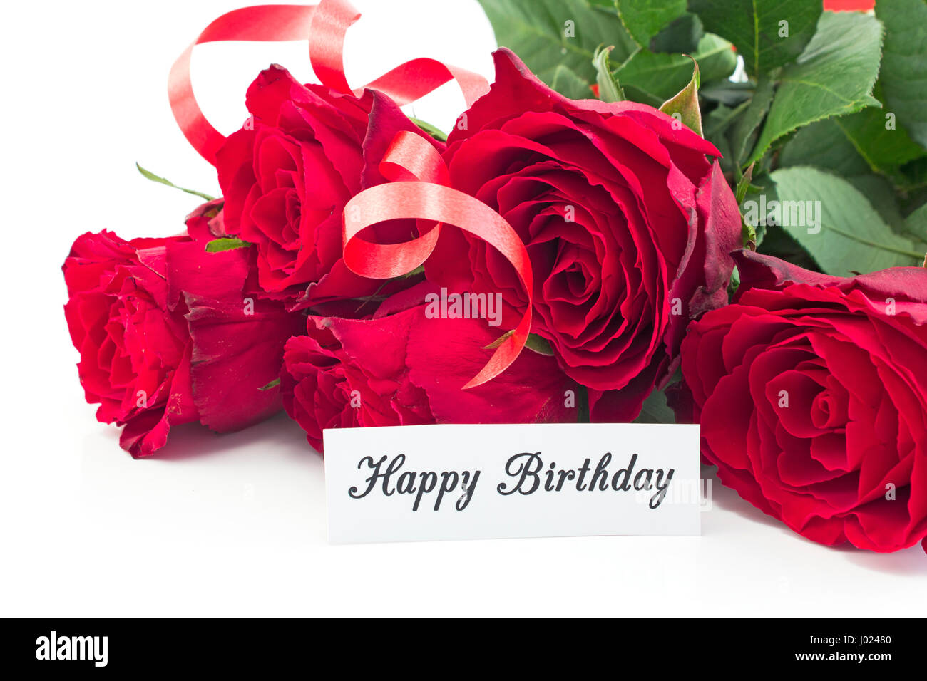 Happy Birthday Card With Bouquet Of Red Roses On White Background