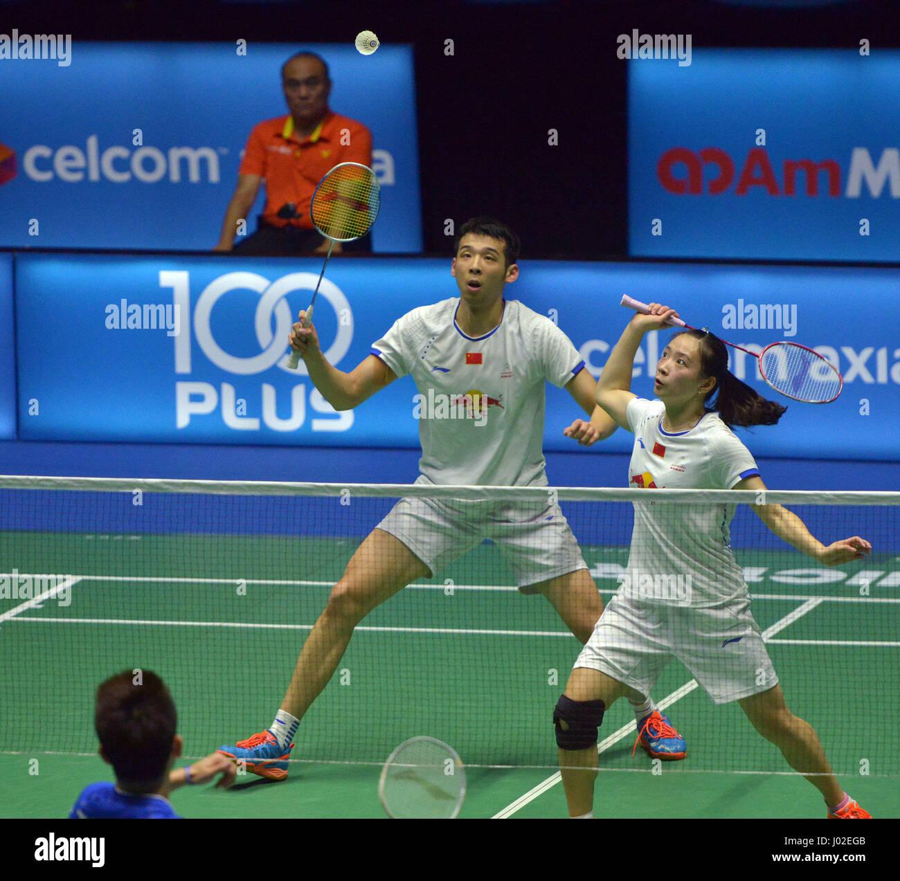 Kuching Malaysia 9th Apr 2017 China s Lu Kai L Huang Yaqiong