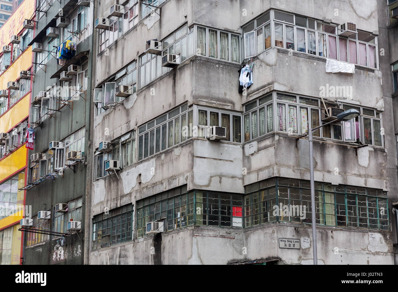 Stock Photo   Facade Of An Old Apartment Building In Hong Kong Part 63