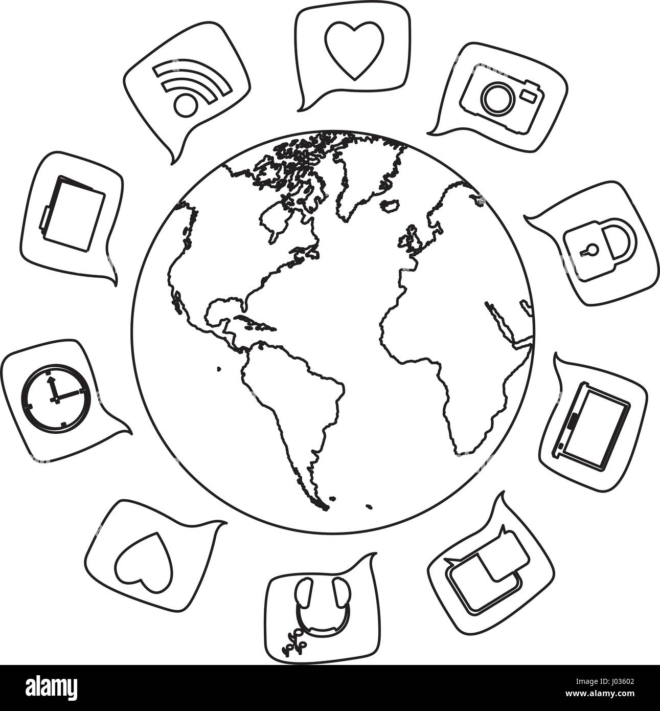 Silhouette world map globe with square dialogue social icons stock silhouette world map globe with square dialogue social icons gumiabroncs Images