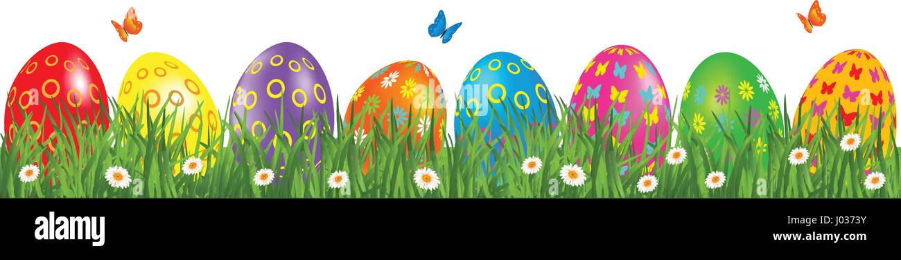 Easter Eggs Border With Multicolored In A Grass Daisy And Butterfly