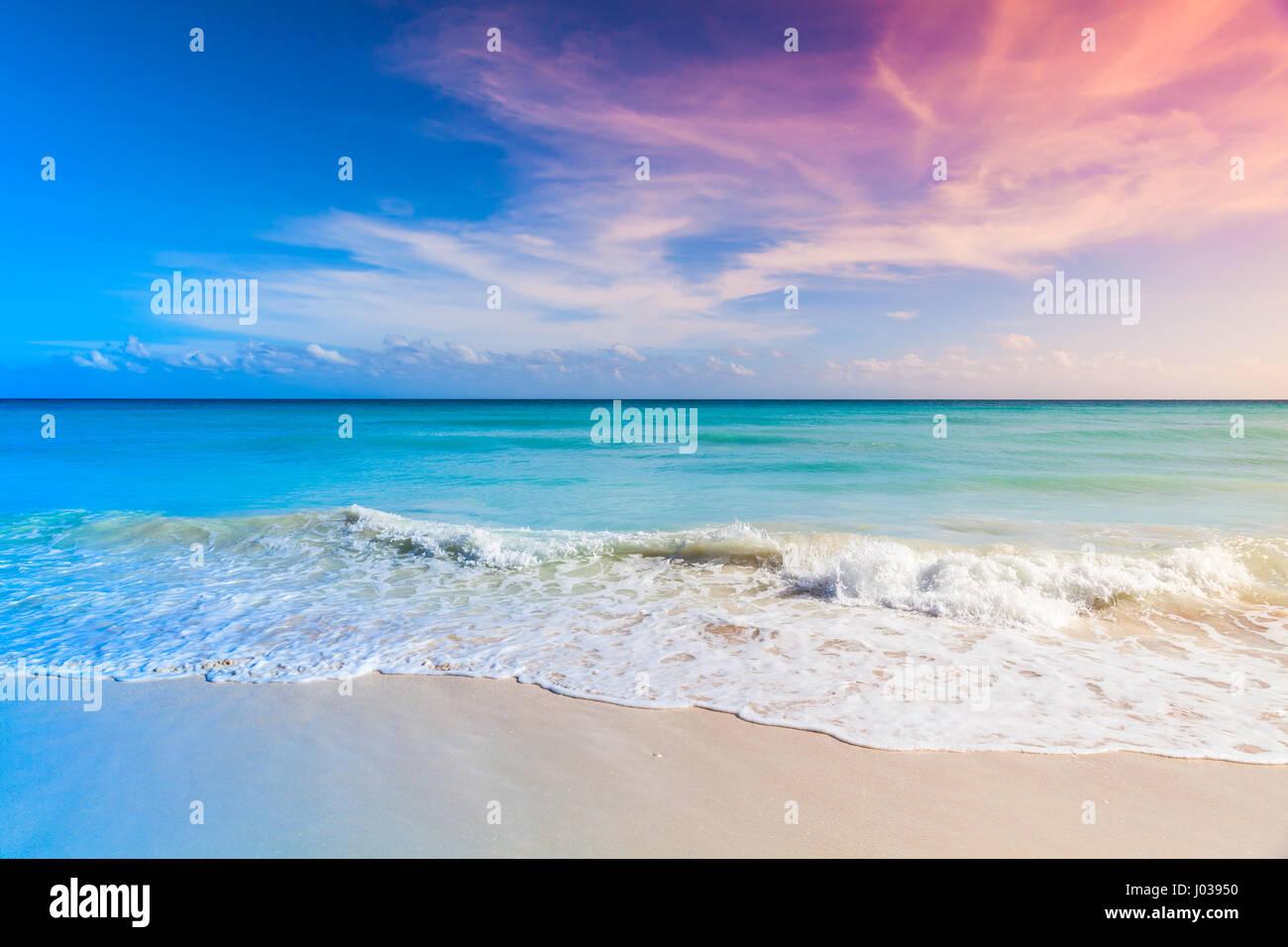 Tropical Beach Background White Sand And Azure Shore Water Under Cloudy Blue Sky Caribbean Sea Coast Dominican Republic Saona Island Tonal Correc