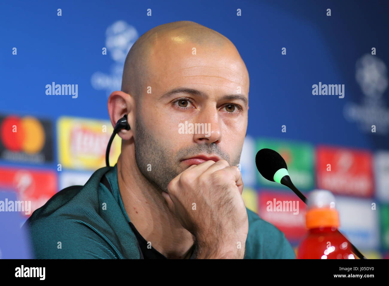 Turin Italy 10th Apr 2017 Javier Mascherano looks on during