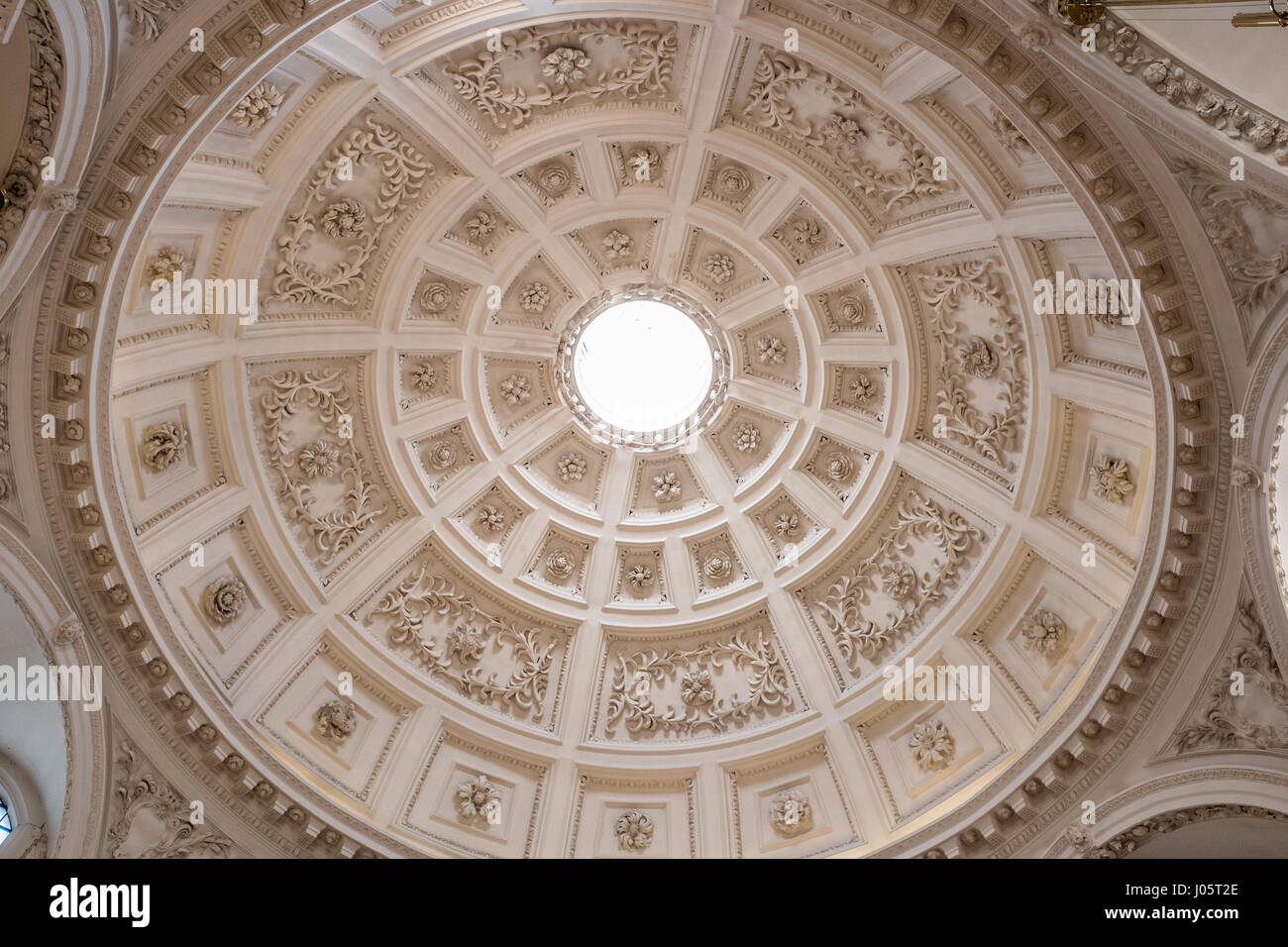 Dome At The Church Of St Stephen Walbrook, City Of London, England, Built  By Christopher Wren After The Fire Of London In 1666.
