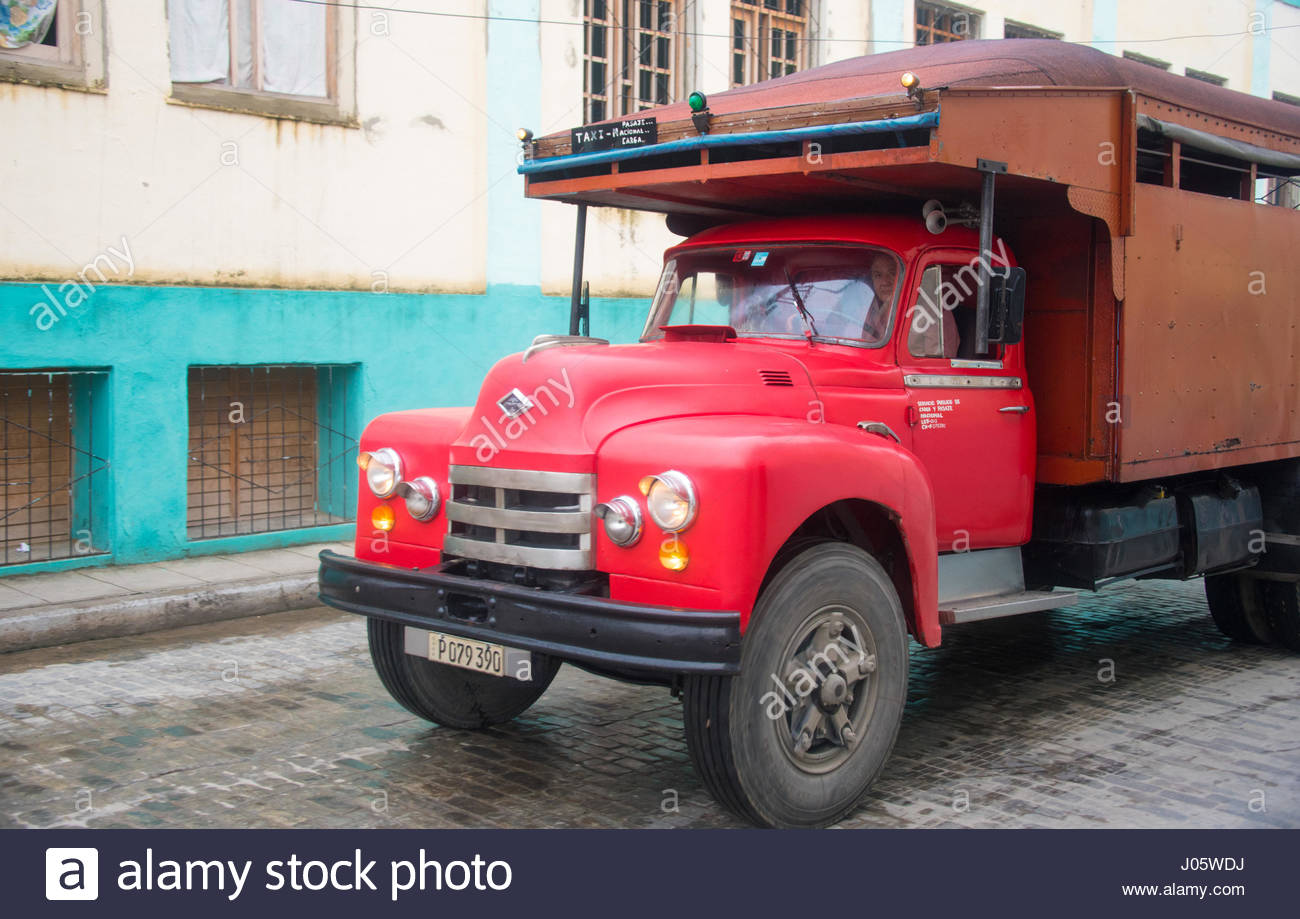 Cuba old vintage American truck in action. Transportation in old ...