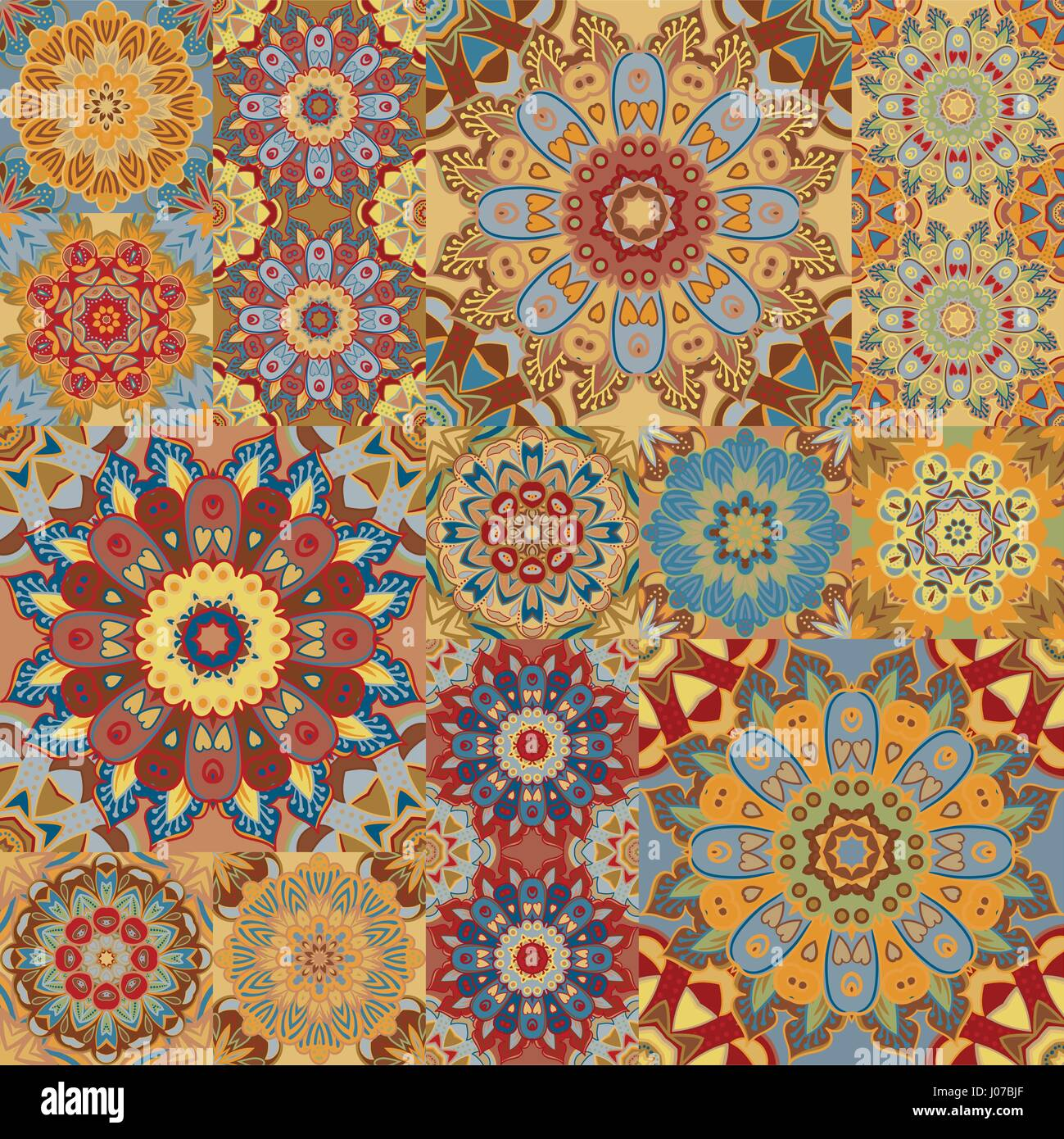 Boho Tile Set And Seamless Pattern Brown Patchwork For Fabric Print Wallpaper Fashionable Textile Square Design Elements Unusual Flower Ornament Vector