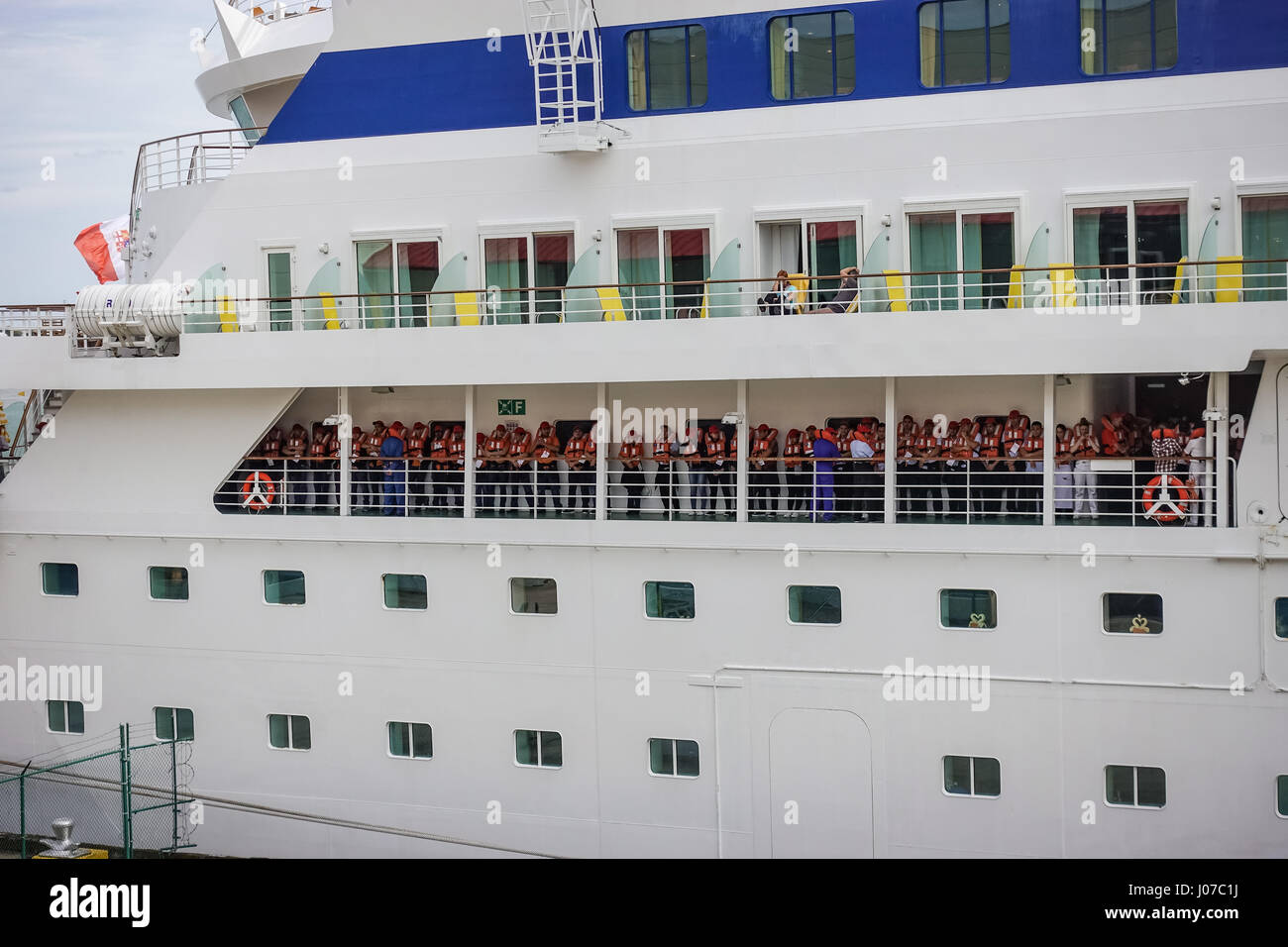 Passengers Do Lifeboat Drill On A Cruise Ship At The New Orleans - New orleans cruise ship terminal