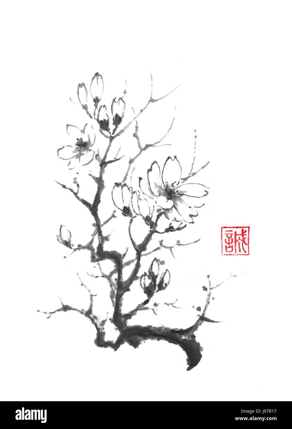 Blooming magnolia tree Japanese style original sumie ink painting