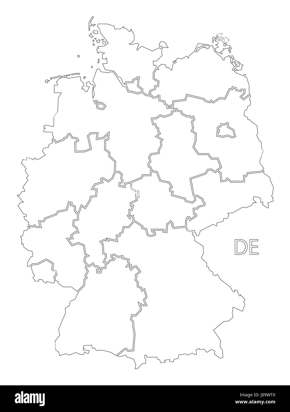 Germany Outline Silhouette Map Illustration With Federal States - Outline map of germany with states