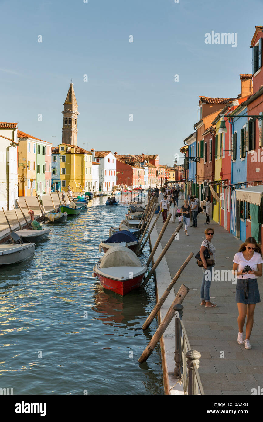 Colorful burano italy burano tourism - Burano Italy September 22 2016 Unrecognized Tourist Walk Along The Typical Canal With Moored Boats And Leaning Tower Burano Is An Island In Vene
