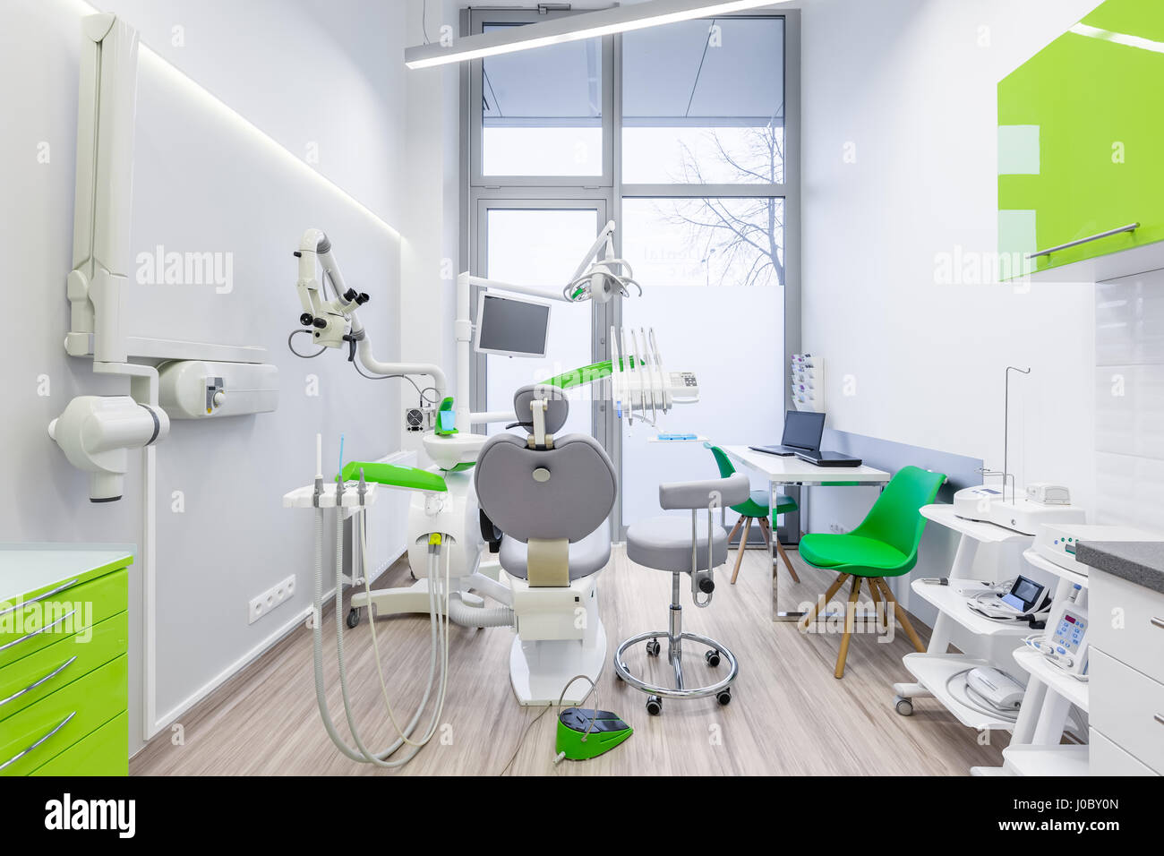 dental office interior. White, Dental Office Interior With Green Furniture And Modern Tools W
