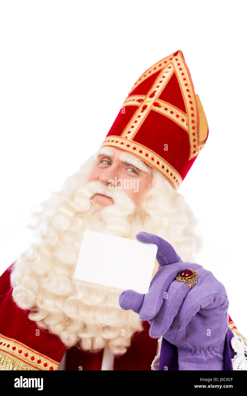 Sinterklaas with business card isolated on white background dutch sinterklaas with business card isolated on white background dutch character of santa claus colourmoves Gallery