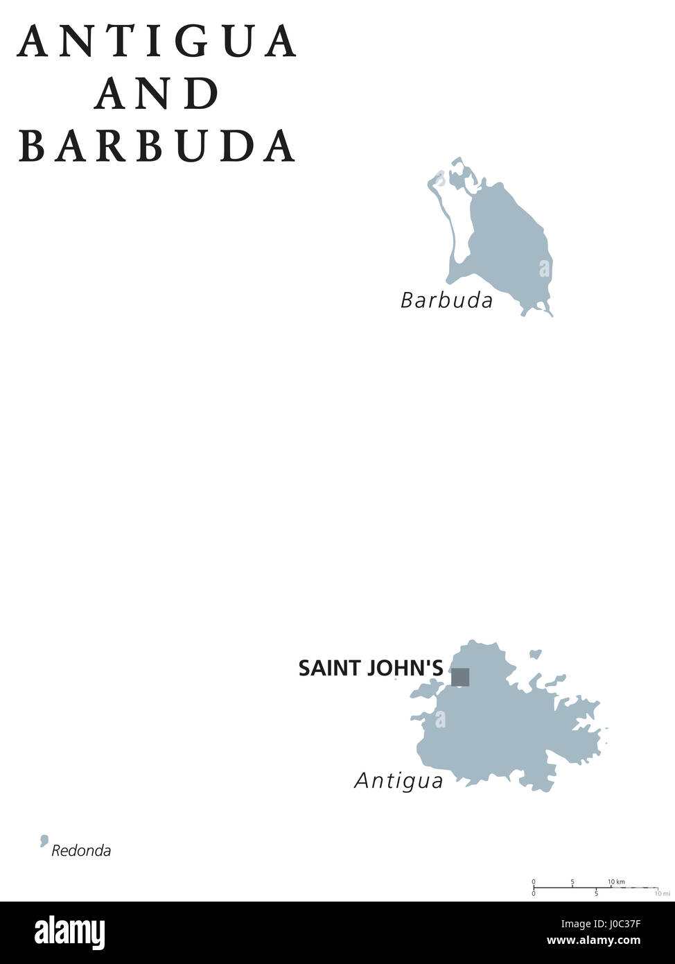 Antigua and Barbuda political map with capital Saint Johns