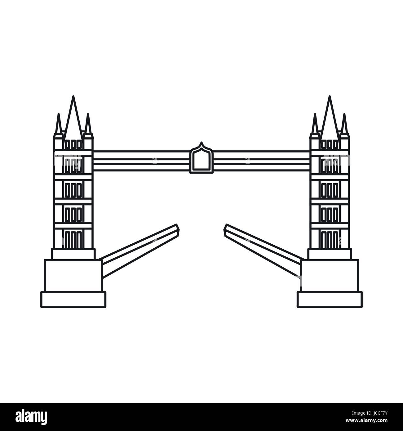 Tower Bridge Icon Outline Style