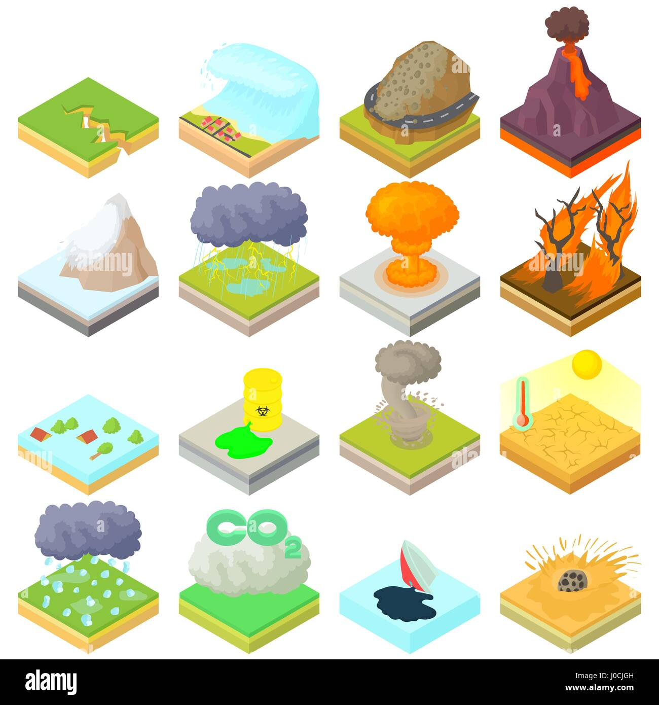Natural Disaster Icons Set Isometric 3d Style Stock