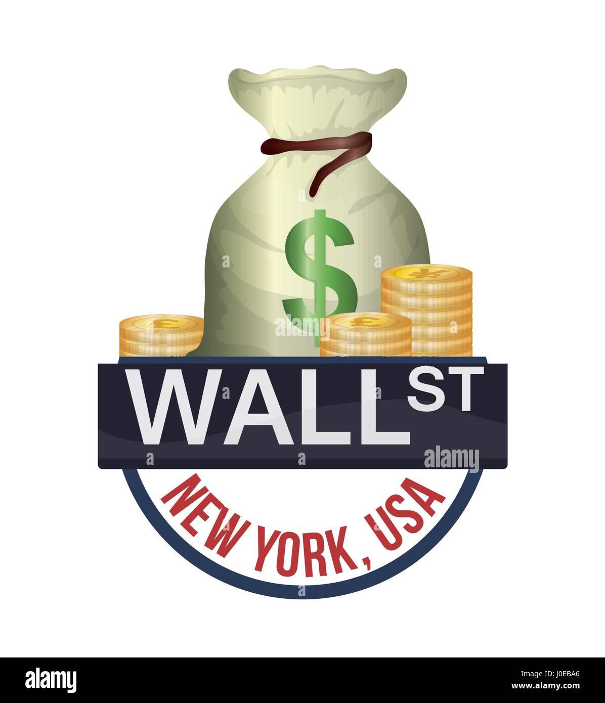 Art Bag Nyc Wall Street New York Bag Money Currency Stock Vector Art
