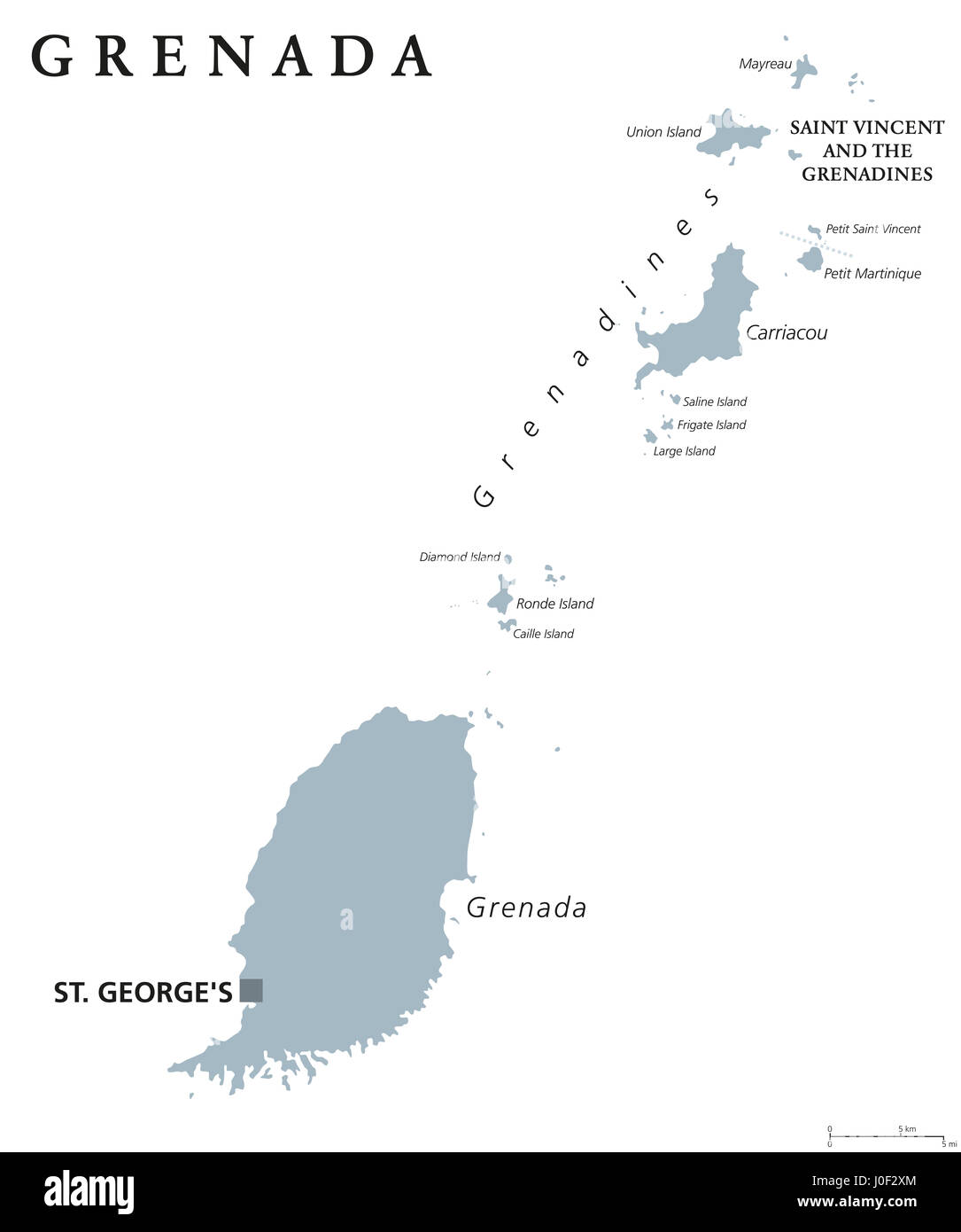 Grenada Political Map With Capital St Georges Caribbean Islands - Map of grenada caribbean islands