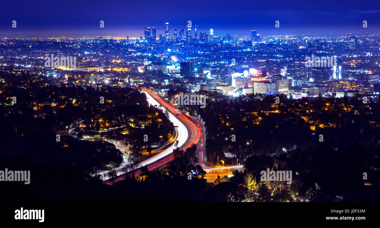 los angeles city skyline and highway 101 viewed from west. Black Bedroom Furniture Sets. Home Design Ideas