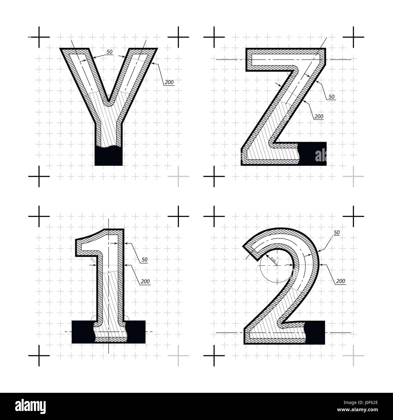 Architectural sketches of y z 1 2 letters blueprint style font on architectural sketches of y z 1 2 letters blueprint style font on white malvernweather Gallery