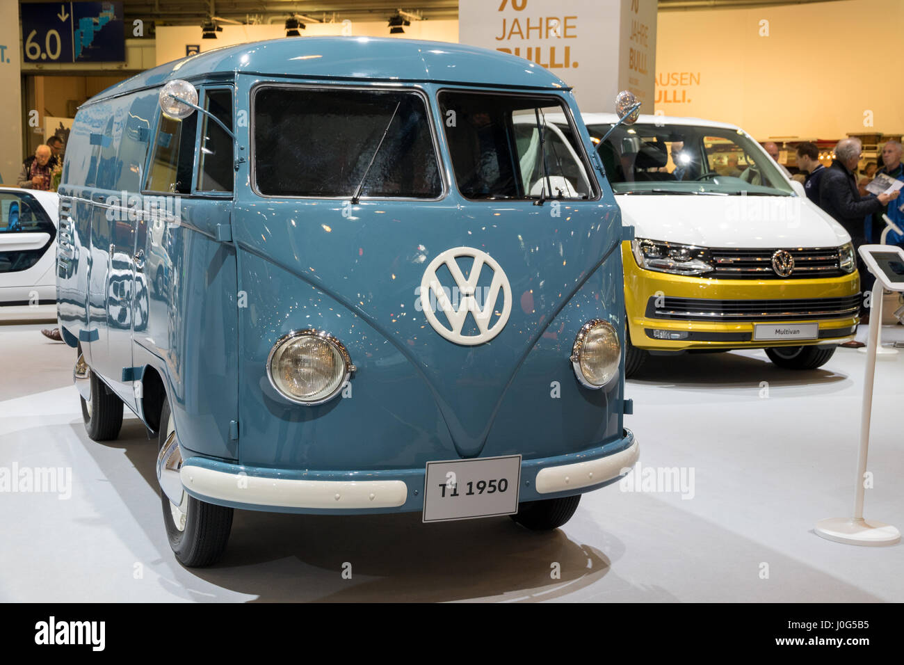 essen germany apr 6 2017 a 1950 volkwagen t1 van and the new stock photo royalty free. Black Bedroom Furniture Sets. Home Design Ideas