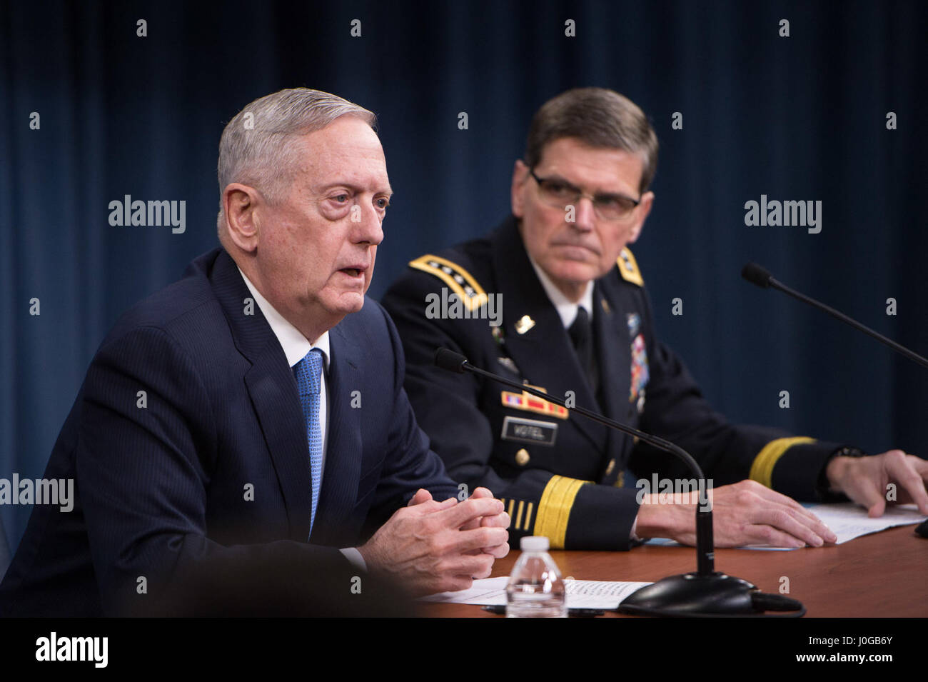 Secretary of Defense Jim Mattis and U S Army Gen Joseph Votel