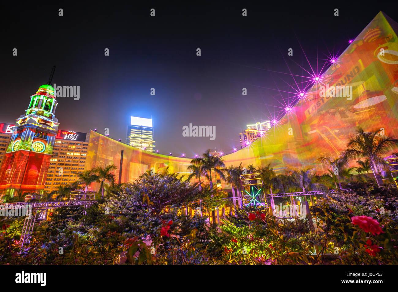 3D Light Show hong kong, china - december 5, 2016: 3d light show of hong kong