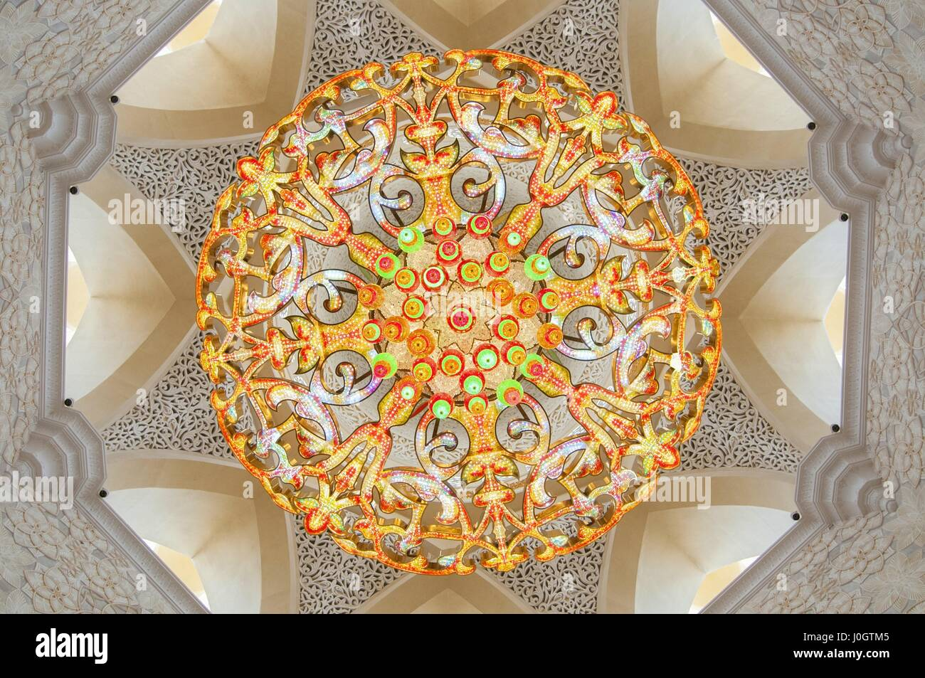 Chandelier inside Sheikh Zayed Grand Mosque in Abu Dhabi the ...