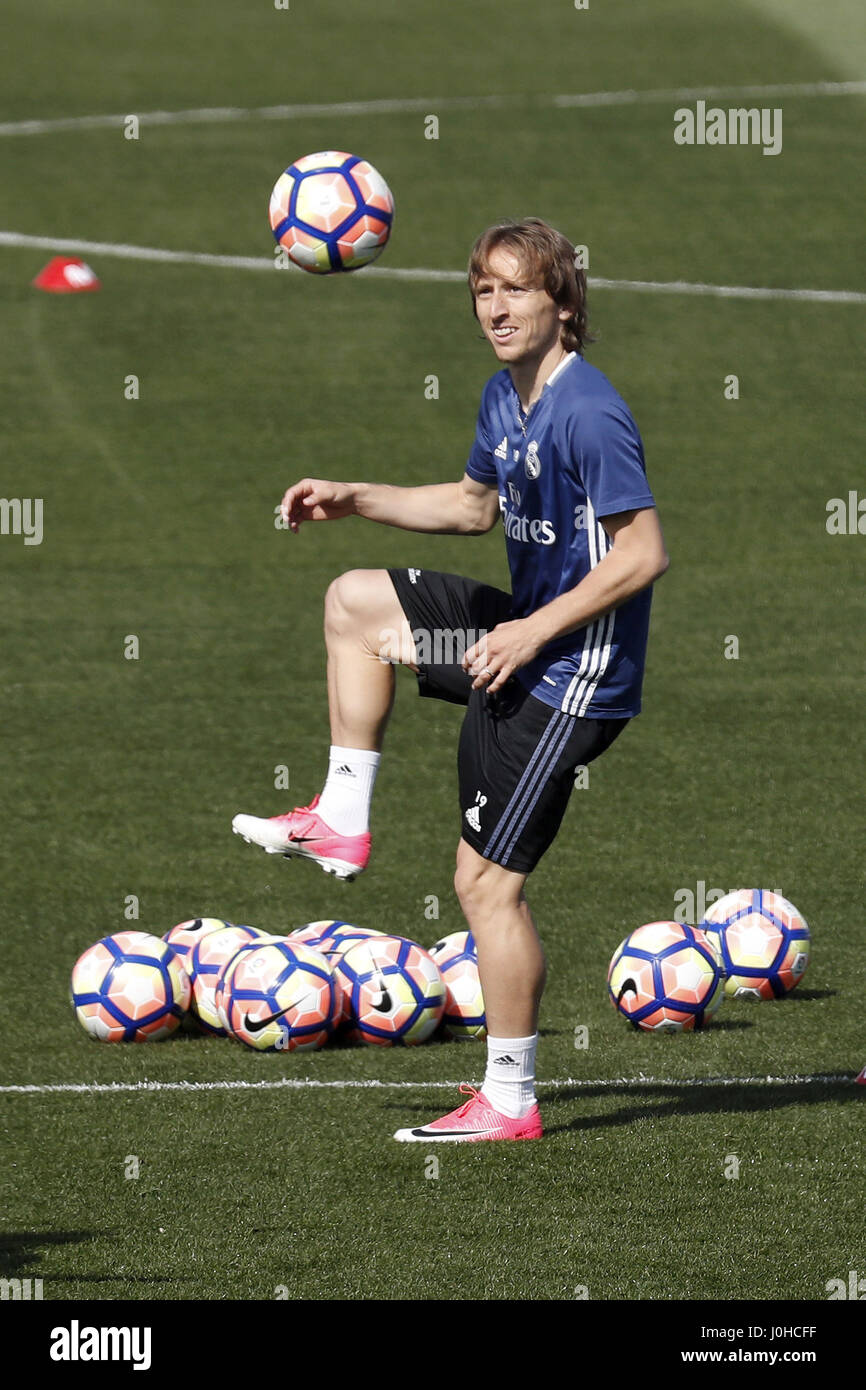 Real Madrid s Croatian midfielder Luka Modric during a team s