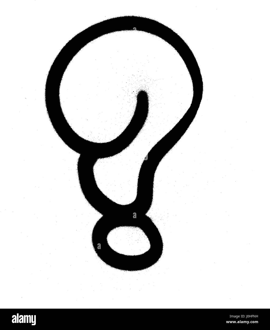 Graffiti Bubble Question Mark In Black On White Stock