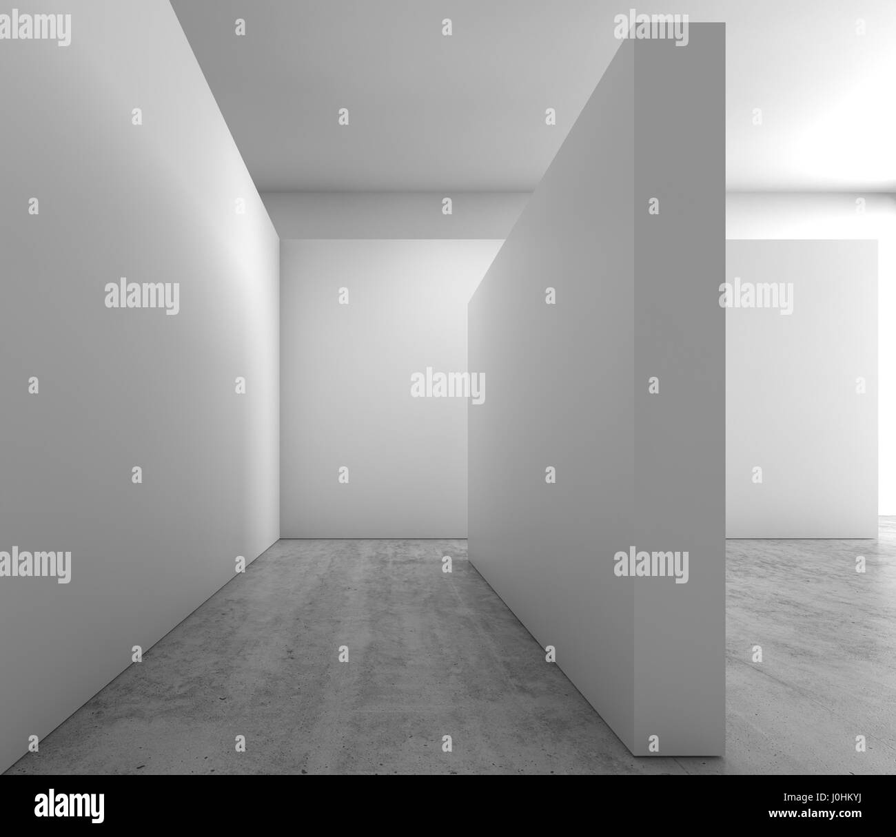 abstract empty interior background blank white walls installation on concrete floor contemporary architecture stock