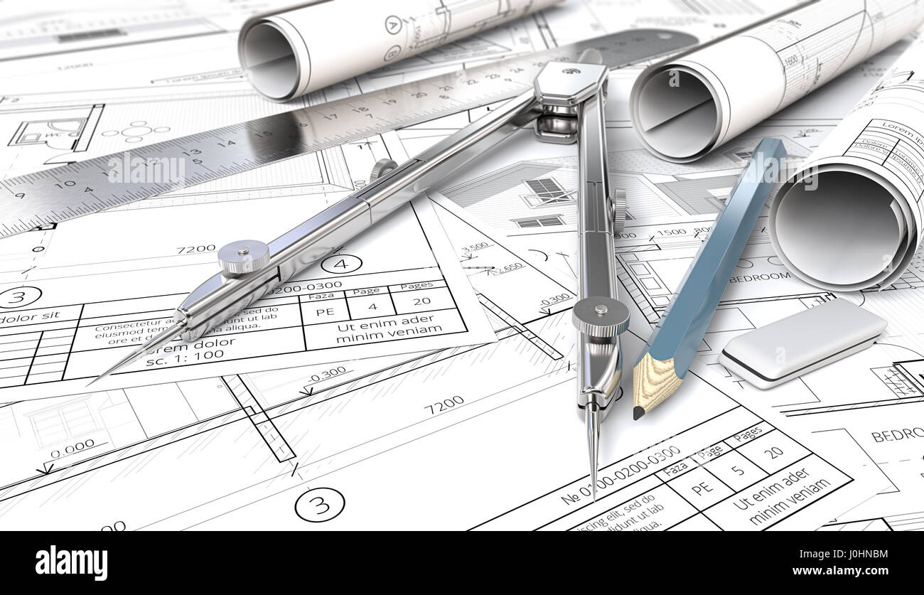 Architectural house blueprints drawings and sketches rolls architectural house blueprints drawings and sketches rolls ruler pencil eraser and divider of metal shallow depth of field 3d render malvernweather Choice Image