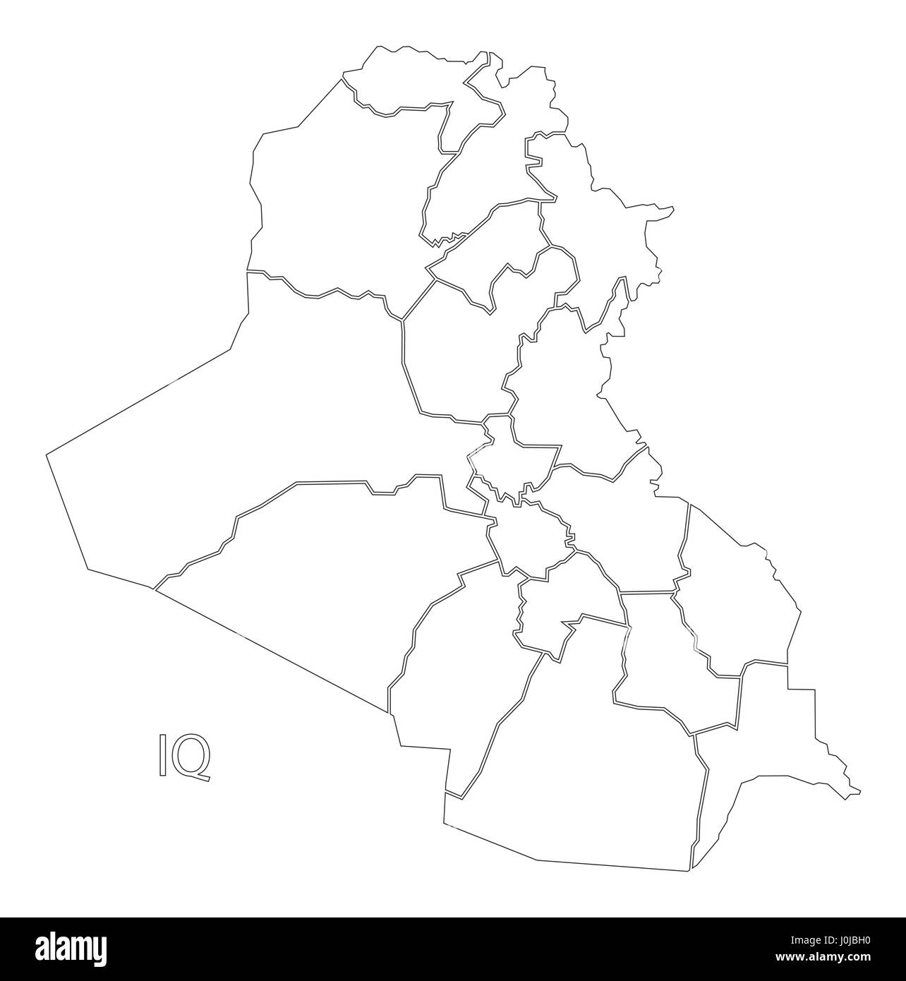 Iraq Outline Silhouette Map Illustration With Governorates Stock - Iraq map outline
