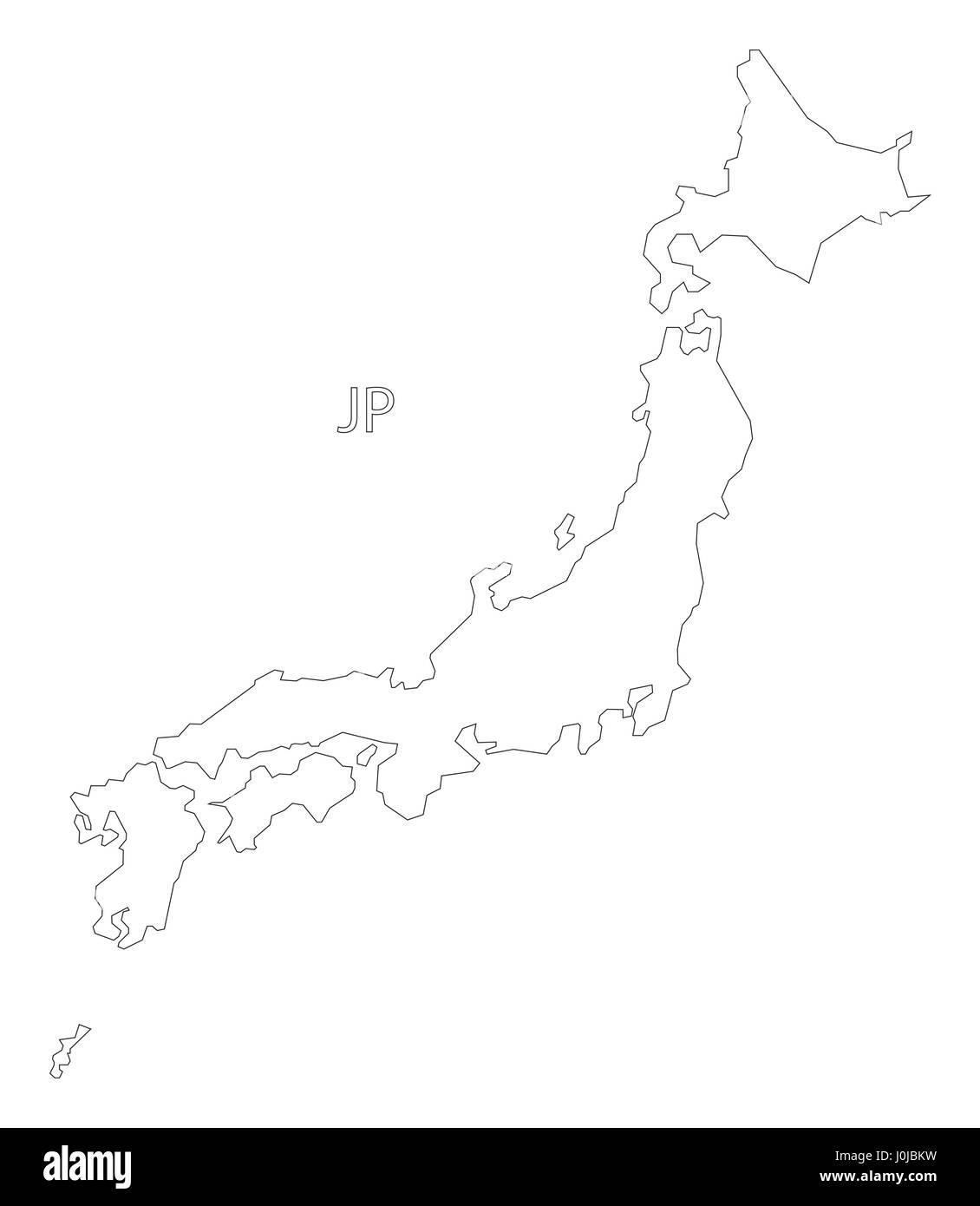 Japan Outline Silhouette Map Illustration Stock Vector Art - Japan map outline
