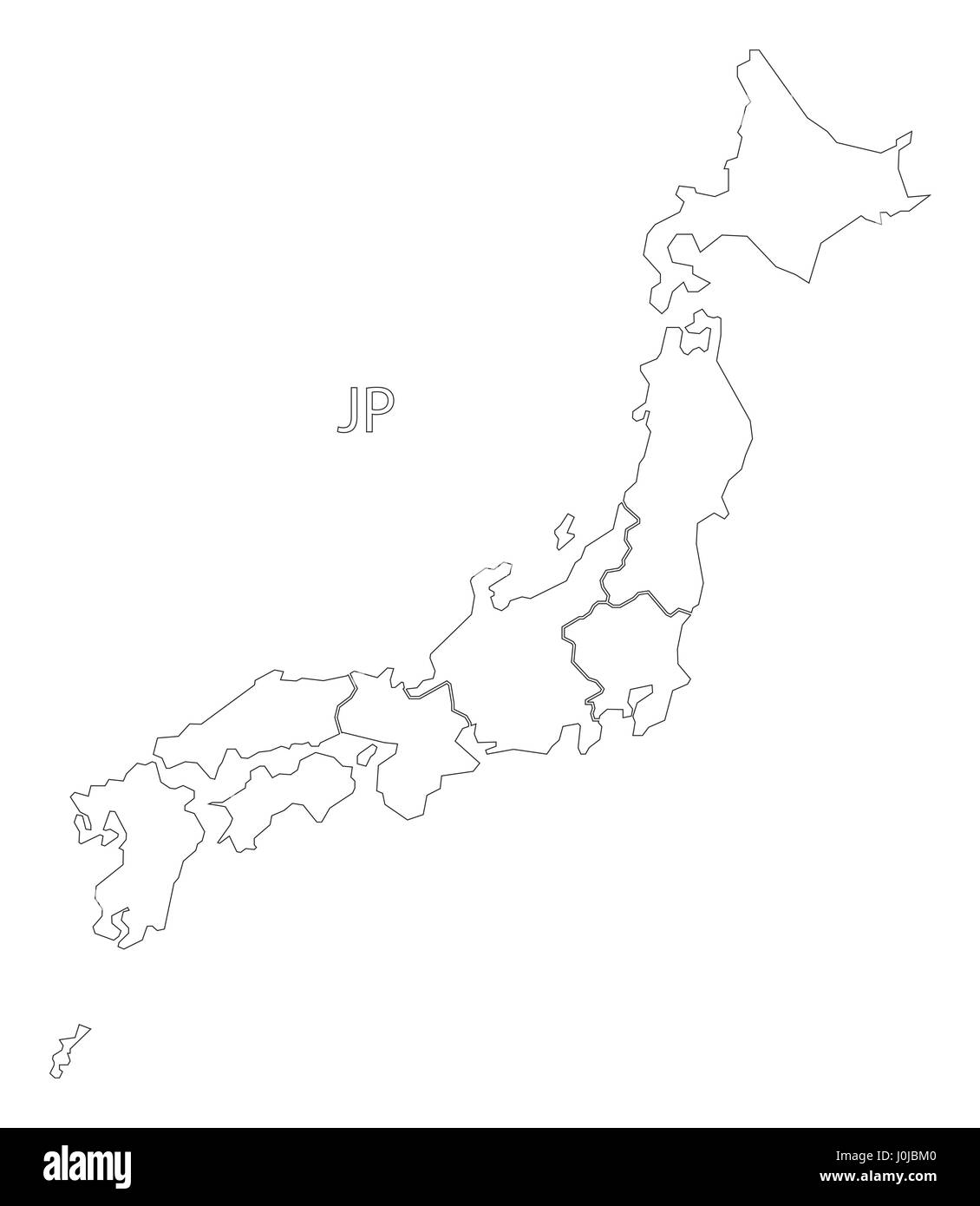 Japan Outline Silhouette Map Illustration With Regions Stock - Japan map regions