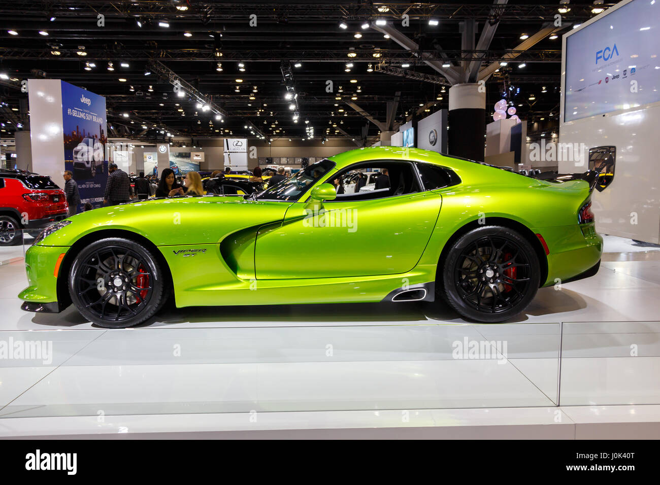 Vancouver canada circa 2017 dodge viper gt in lime green stock image