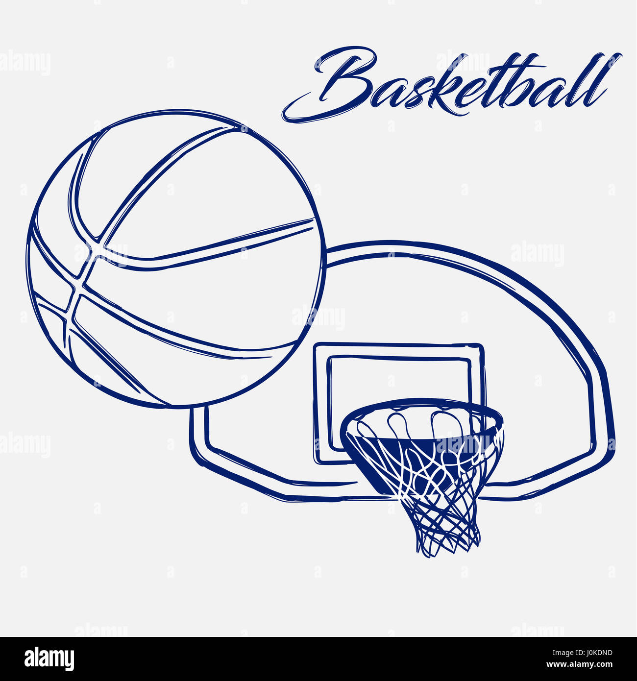 Doodle Hand Drawn Sketch Street Basketball Ball Flies Into Ring Stock Photo Royalty Free Image ...