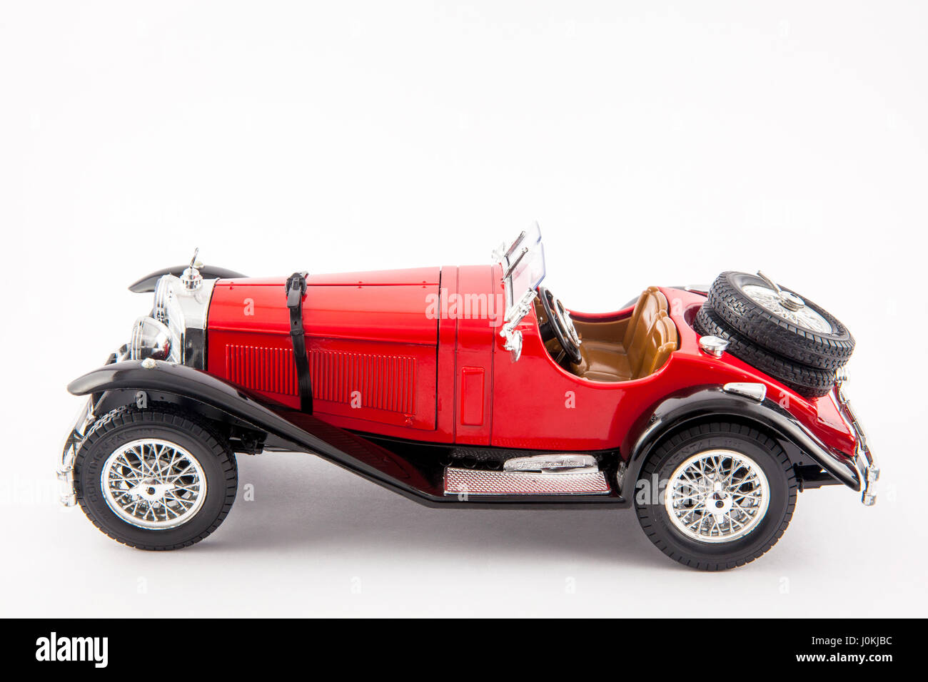 Mercedes Benz Red Classic Car Isolated In White Background