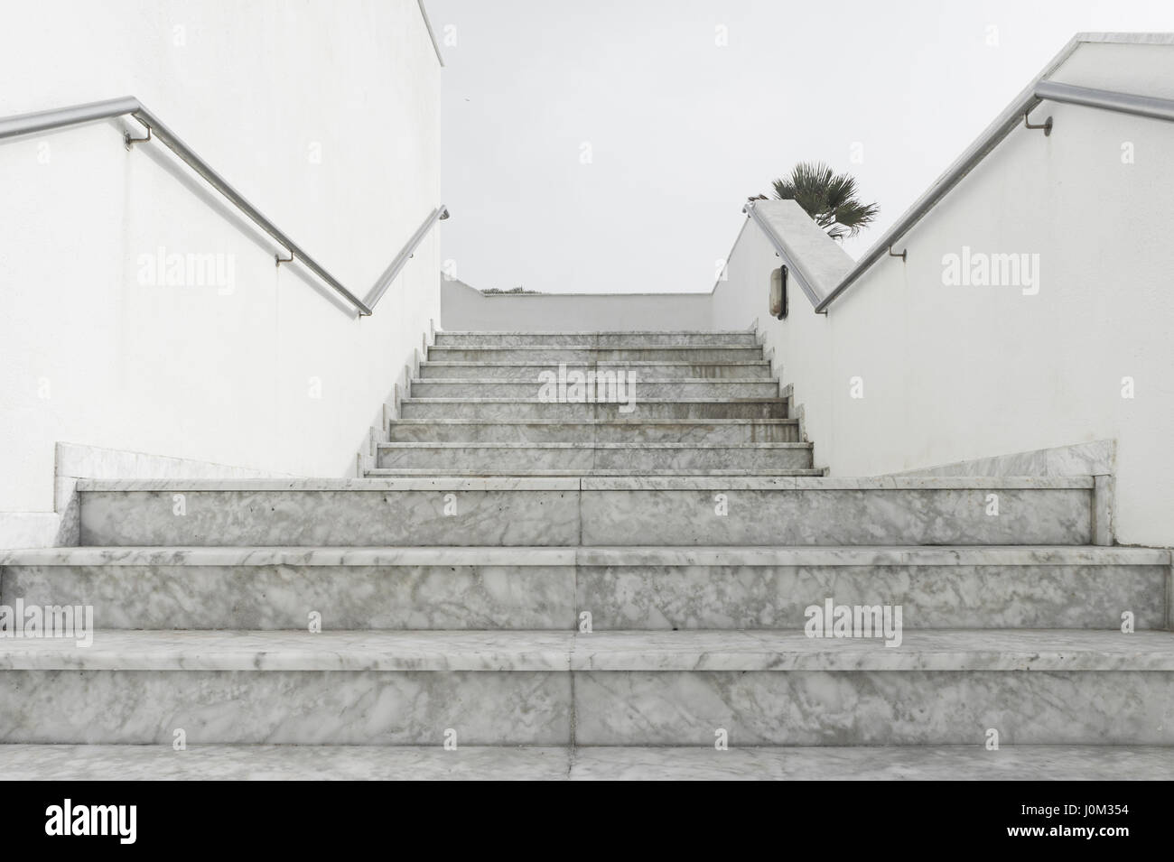 Outdoor Empty White Marble Stairs Leading Upstairs   Stock Image