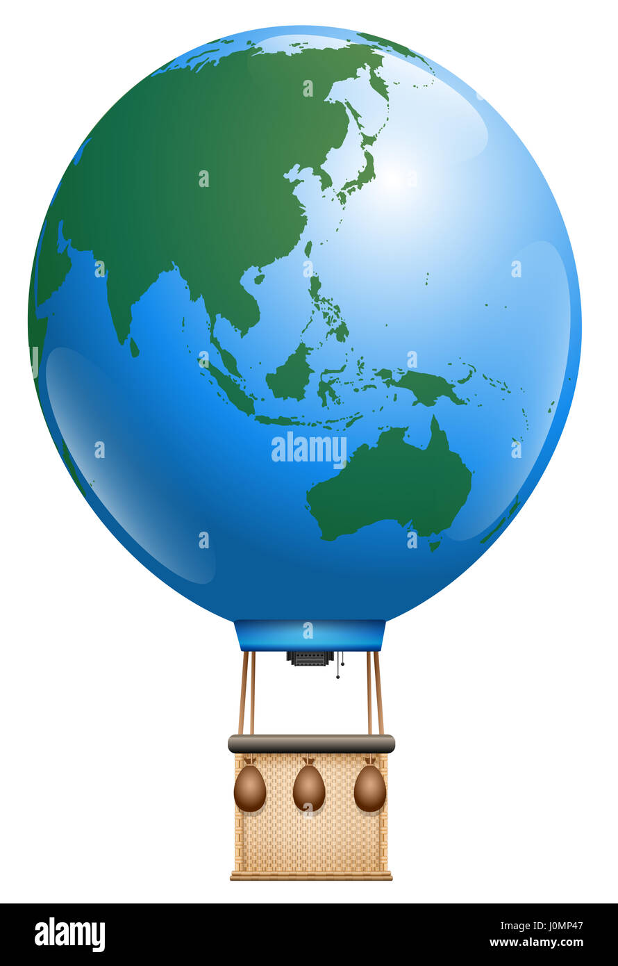 Hot air balloon planet earth asia and australia and pacific hot air balloon planet earth asia and australia and pacific ocean symbol for round the world cruise or other global flying tourism issues biocorpaavc Gallery