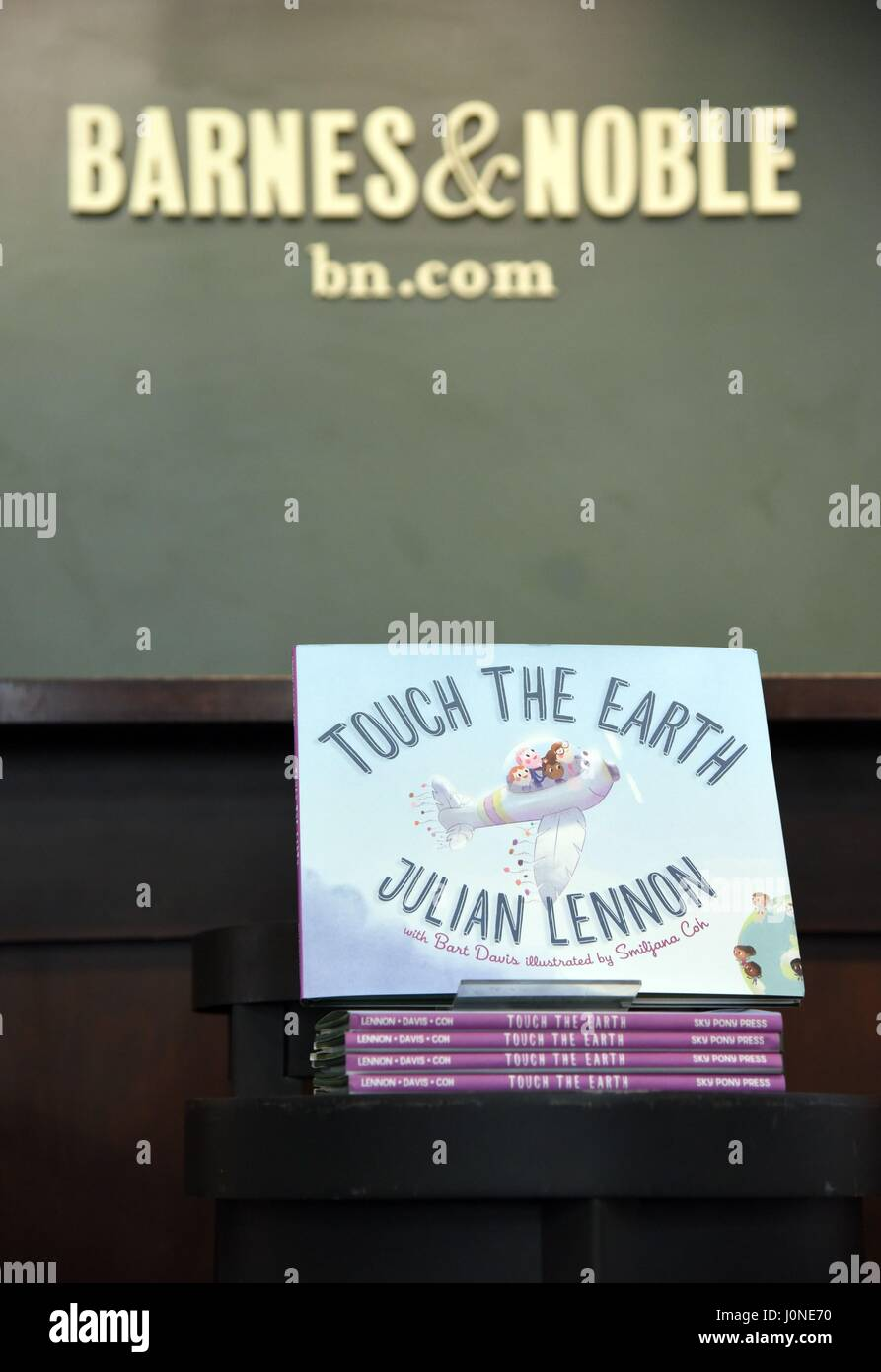 New york ny usa 15th apr 2017 julian lennon book display at in store appearance for julian lennon book signing for touch the earth barnes and noble