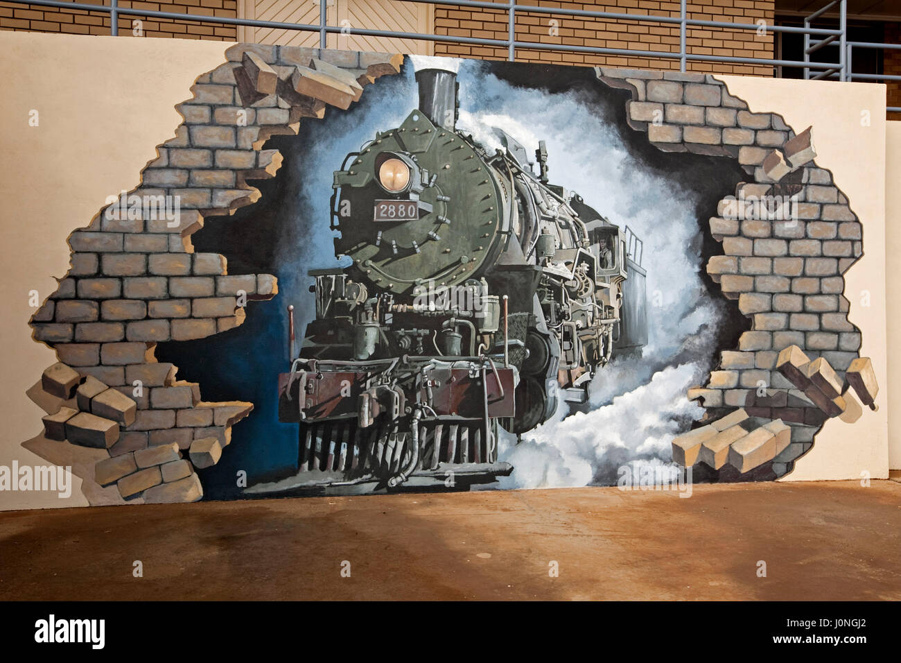 Large And Spectacular Mural Of Historic Steam Train Smashing Through Brick  Wall Of Building In Outback Town Of Broken Hill, NSW Australia Part 76