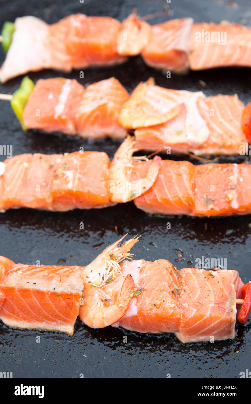 Grilled Salmon Fillets And Prawns Healthy Fast Food Cooked On Griddle For  Sale At Street Market 20170109pansearedsalmon12g