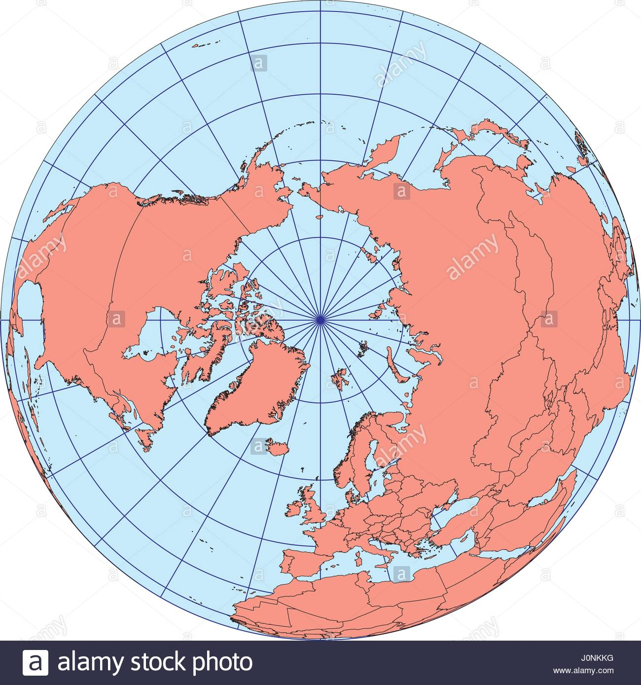 Globe map centered on the north pole ortographic projection with globe map centered on the north pole ortographic projection with graticule elements of this image furnished by nasa vector map gumiabroncs Gallery