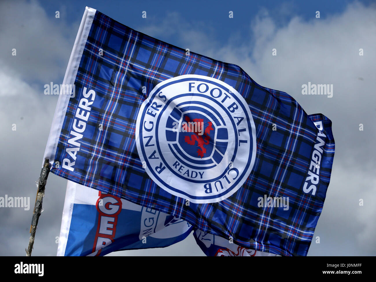 a general view of a rangers flag during the ladbrokes scottish