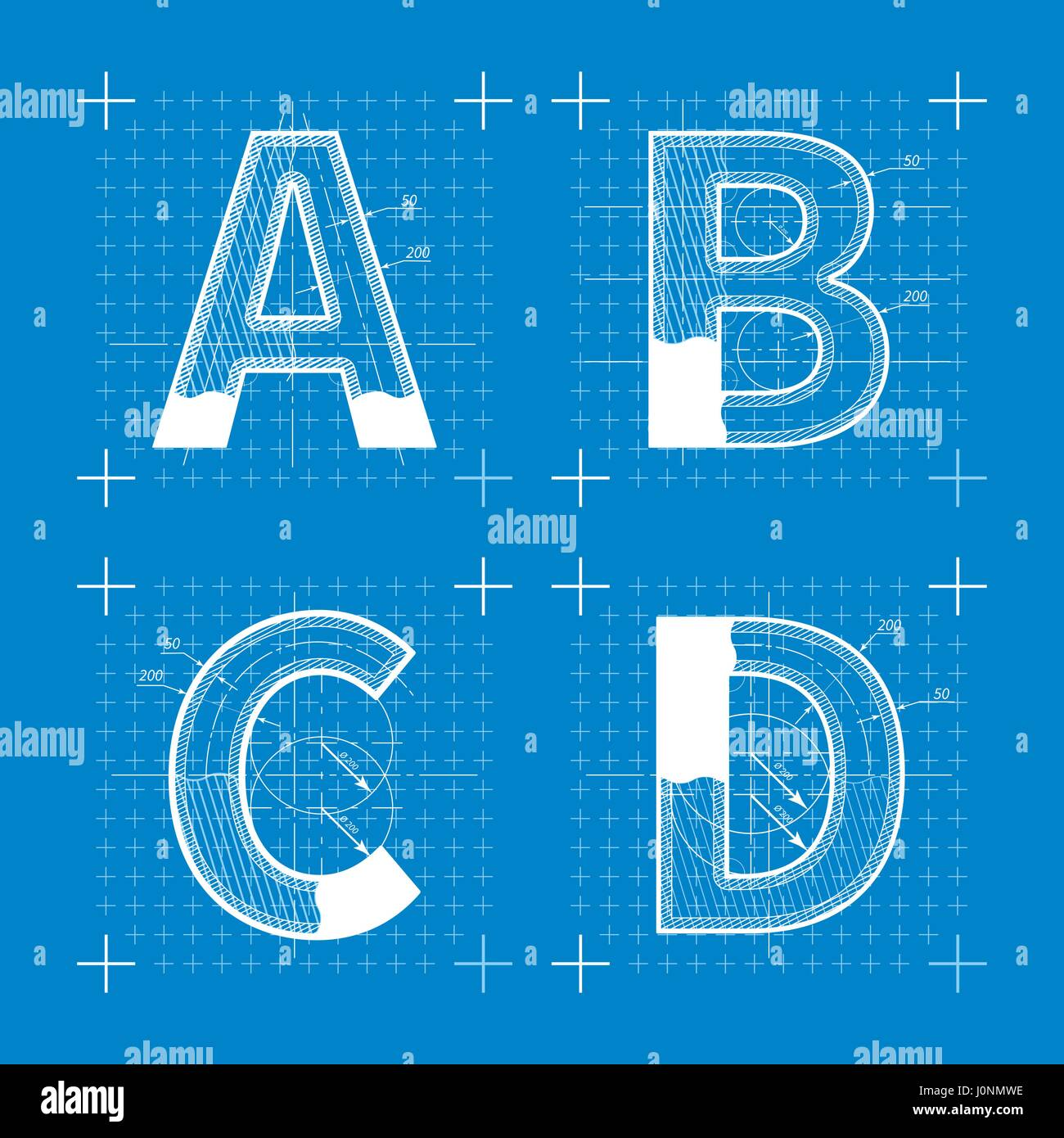 Construction sketches of a b c d letters blueprint style font construction sketches of a b c d letters blueprint style font malvernweather Images