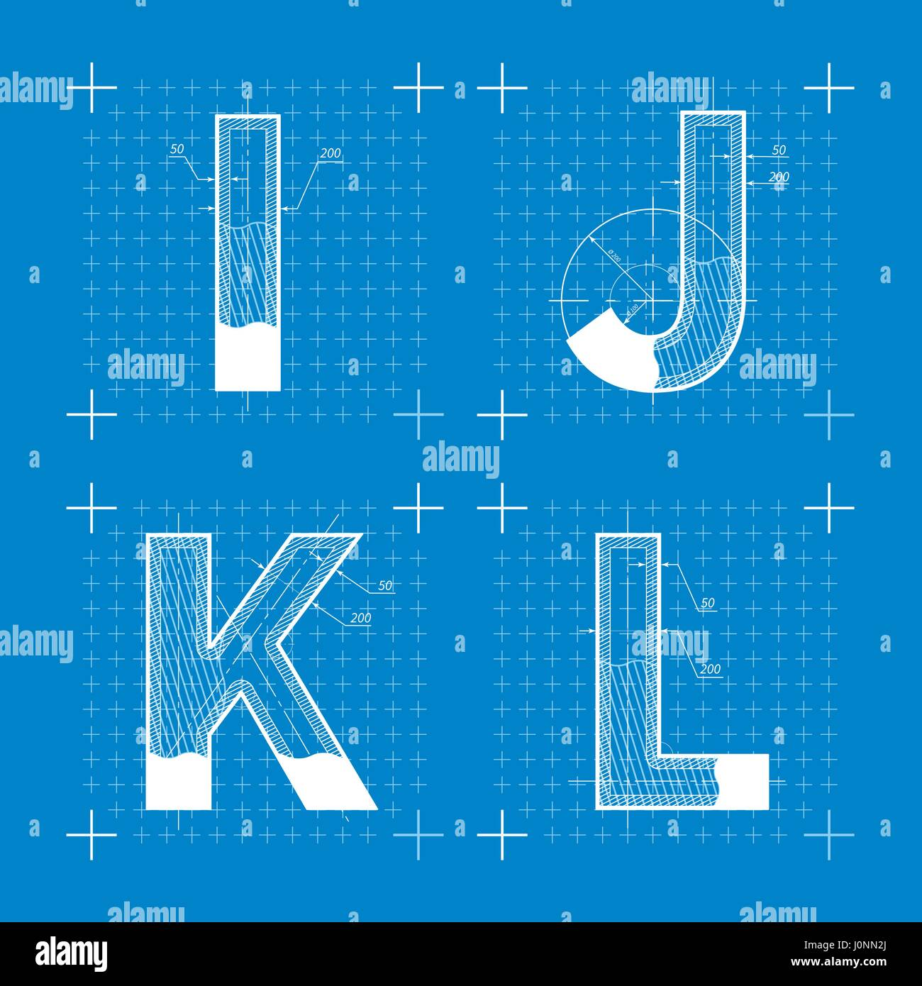 Construction sketches of i j k l letters blueprint style font construction sketches of i j k l letters blueprint style font malvernweather Choice Image