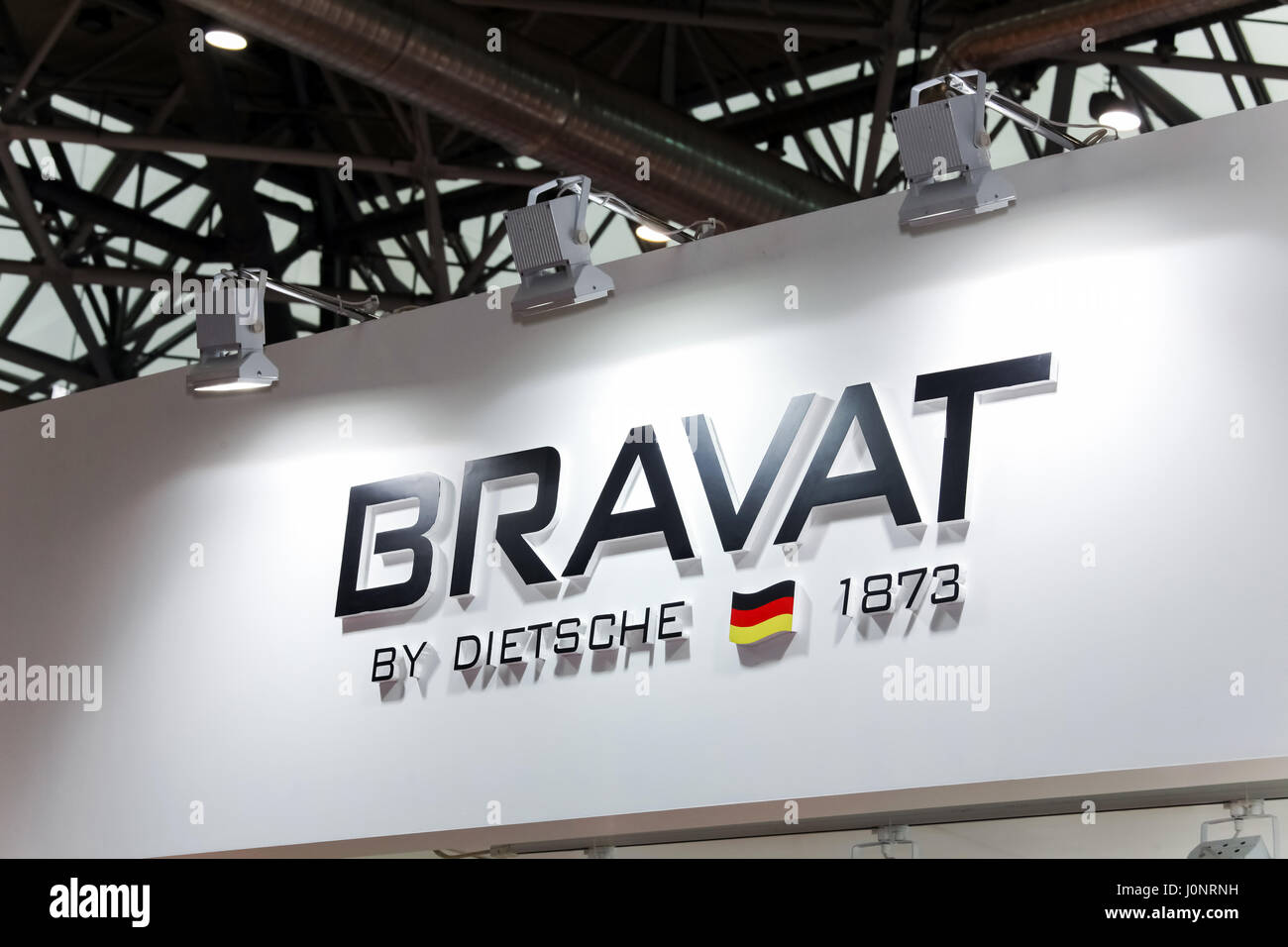 Moscow, Russia   April, 2017: Logo Sign Of Bravat Company. Bravat Is A  German Manufacturer Of Sanitaryware, Bathroom Furniture